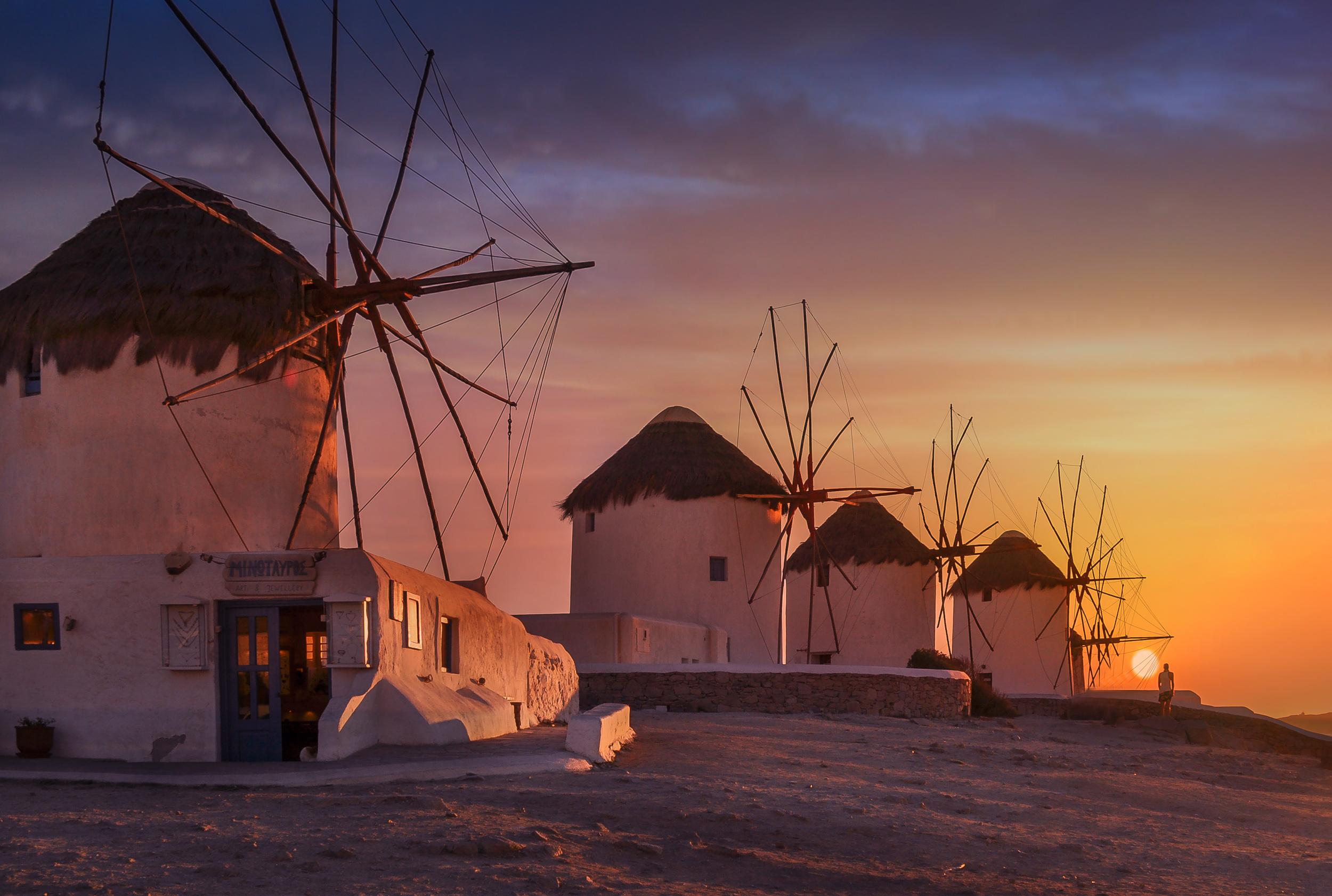 Mulini A Vento Mykonos Grecia Sprea Fotografia