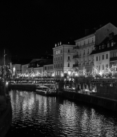 Ljubljana at night on Christmas time