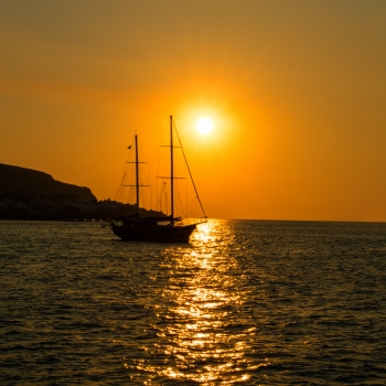 sailer at sunset