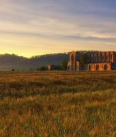 St. Galgano Abbey in early morning light