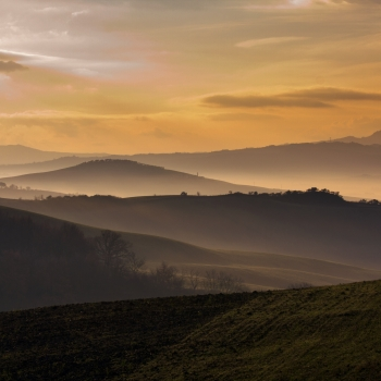 Tuscan countryside at dawn