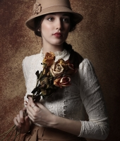 Vintage portrait with roses