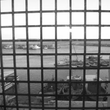 Visione del paesaggio attraverso il bel castello di Gallipoli